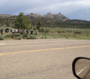 Post Office boxes along the road to Chimney Rock